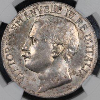 イタリア Italy ビットリオ エマヌエレ3世 王国50周年記念 5リラ銀貨 1911年R NGC MS63