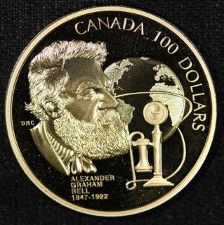 カナダ Canada アレクサンダー グラハム ベル エリザベス2世 100ドル金貨 プルーフ 1997年