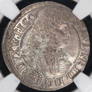 ドイツ Germany ヴュルテンベルク=エールス ジルフィウス2世フリードリヒ 3クロイツァー銀貨 1676年 NGC MS66