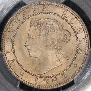 ジャマイカ Jamaica  ビクトリア 1ペニー白銅貨 初年号 1869年 PCGS MS65