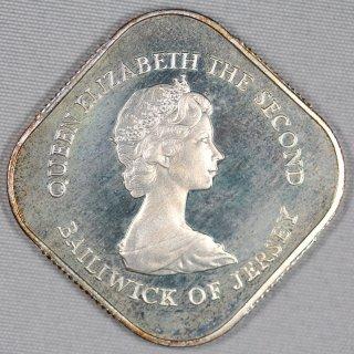 イギリス領 ジャージー Jersey  ジャージーの戦い200年 エリザベス2世 1ポンド銀貨 プルーフ 1981年