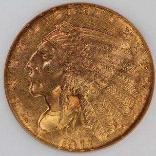アメリカ United States of America インディアンヘッド 2.5ドル金貨 1911年 NGC MS63