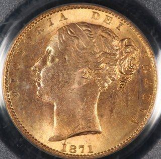 イギリス Great Britain ヴィクトリア女王 盾の紋章 ソブリン金貨 1871年 PCGS MS64