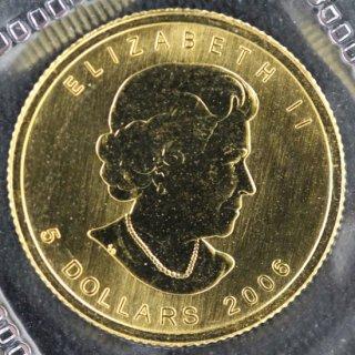 カナダ Canada エリザベス2世 メイプルリーフ 5ドル金貨 1/10オンス 2006年