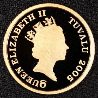 イギリス領 ツバル Tuvalu エリザベス2世 フクロウ 15ドル金貨 1/10オンス 2005年