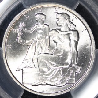 スイス Switzerland スイス連邦憲法公布100年 5フラン銀貨 1948年 PCGS MS66