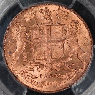 イギリス領 インド India British 東インド会社 1/4アンナ銅貨 1858年 PCGS MS64BD