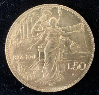 イタリア Italy ビットリオ エマヌエレ3世 イタリア王国50周年記念 50リラ金貨 1911年
