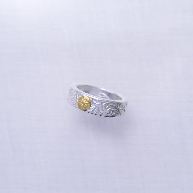 KARAKUSA Ring Thick with Gold Point M