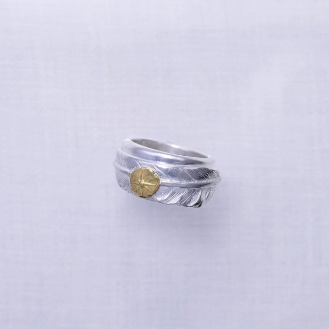 Feather Ring 2 with Gold Point L