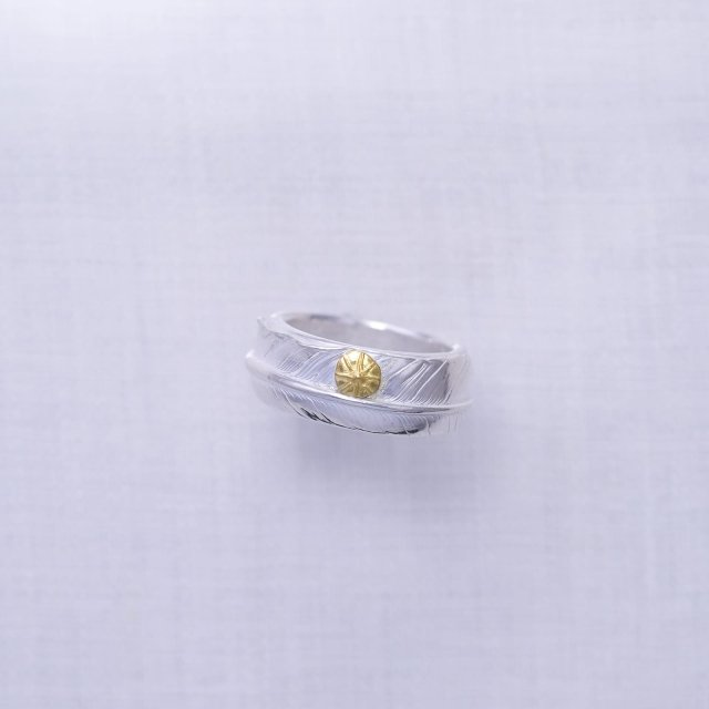 Feather Ring 3 with Gold Point S