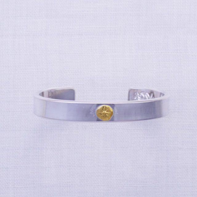 Plain Bangle 10mm width with Gold Point L