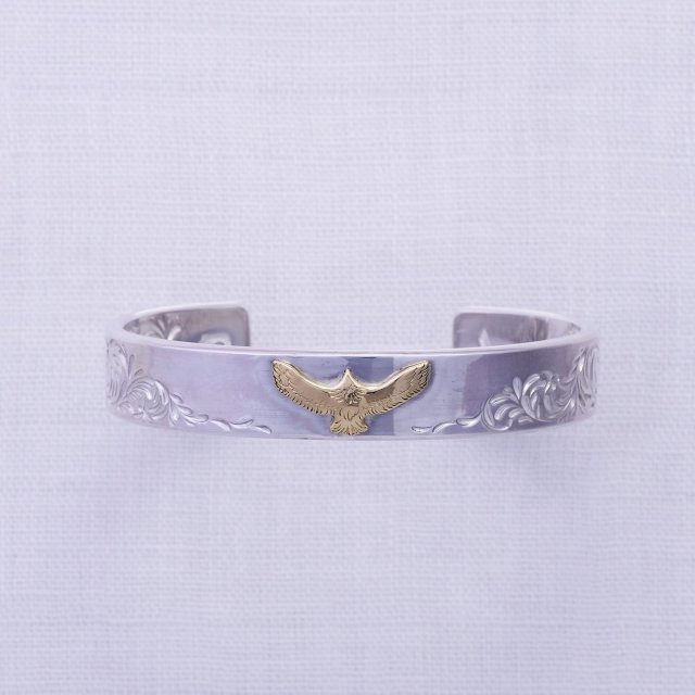 Double KARAKUSA Bangle 12mm width with K18 Mini Eagle