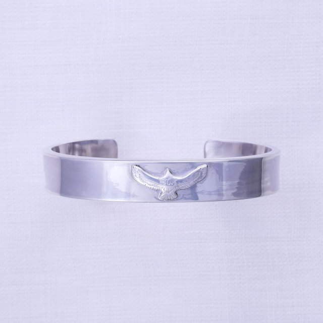 Plain Bangle  12mm width with Small Eagle