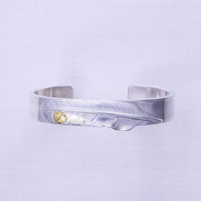 Plain Bangle 12mm width with Feather L & Gold point S