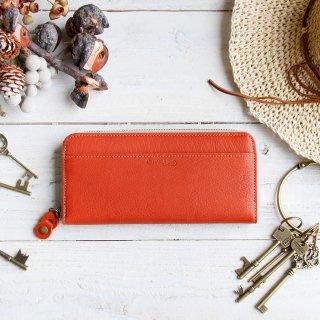 〈3日以内発送〉やさしいカラーのヌメ革財布 レッド ラウンドファスナー(レザー 牛ヌメ革)