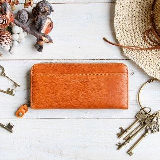 〈3日以内発送〉やさしいカラーのヌメ革財布 キャメル ラウンドファスナー(レザー 牛ヌメ革)