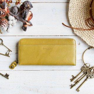 〈3日以内発送〉やさしいカラーのヌメ革財布 ライトグリーン ラウンドファスナー(レザー 牛ヌメ革)