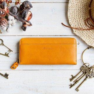 〈3日以内発送〉やさしいカラーのヌメ革財布 イエロー ラウンドファスナー(レザー 牛ヌメ革)