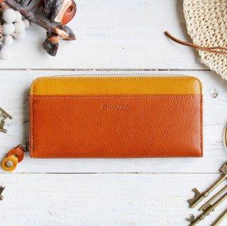 〈3日以内発送〉バイカラーのヌメ革財布 オレンジ/イエロー ラウンドファスナー レザー(牛)