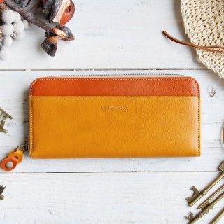 〈3日以内発送〉バイカラーのヌメ革財布 イエロー/オレンジ ラウンドファスナー レザー(牛)