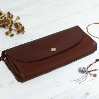 〈7日以内発送〉手縫いの一枚革アコーディオン長財布 チョコ 牛ヌメ革