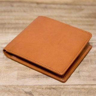 〈品切〉ヌメ革シンプルな二つ折り財布 キャメル(レザー 牛ヌメ)