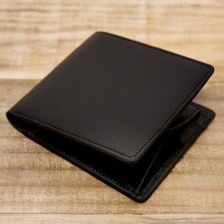 〈3日以内発送〉ヌメ革シンプルな二つ折り財布 ブラック(レザー 牛ヌメ)
