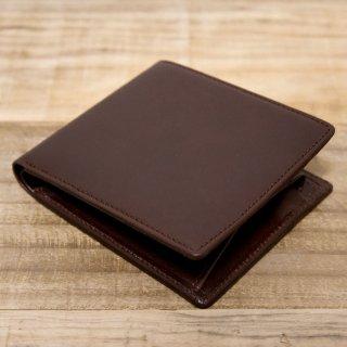 〈3日以内発送〉ヌメ革シンプルな二つ折り財布 チョコ(レザー 牛ヌメ)