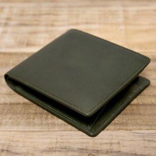 〈品切〉ヌメ革シンプルな二つ折り財布 ダークグリーン(レザー 牛ヌメ)