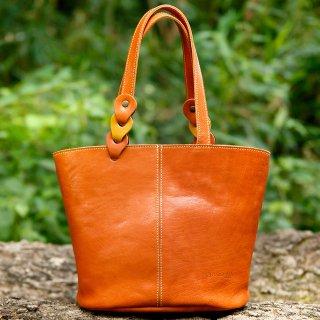 〈7日以内発送〉さりげないバイカラーのヌメ革ミニトートバッグ オレンジ×イエロー(レザー 牛ヌメ革)