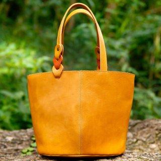〈7日以内発送〉さりげないバイカラーのヌメ革ミニトートバッグ イエロー×オレンジ(レザー 牛ヌメ革)