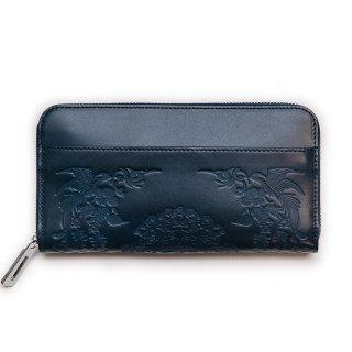 〈3日以内発送〉正倉院文様革財布 あをによし(カラー 濃藍)