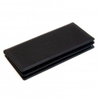 〈3日以内発送〉シンプルなヌメ革かぶせ蓋長財布(小銭入れあり)ブラック