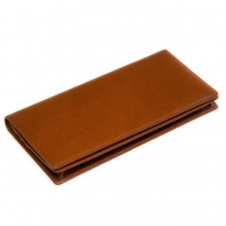 〈3日以内発送〉シンプルなヌメ革かぶせ蓋長財布(小銭入れあり)ブラウン
