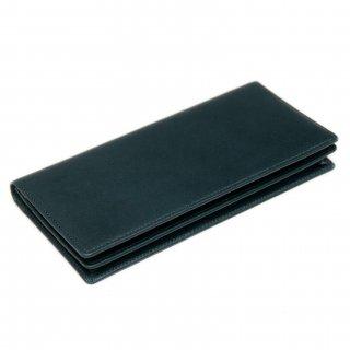 〈3日以内発送〉シンプルなヌメ革かぶせ蓋長財布(小銭入れあり)ネイビー