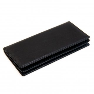 〈3日以内発送〉シンプルなヌメ革かぶせ蓋長財布(小銭入れなし)ブラック