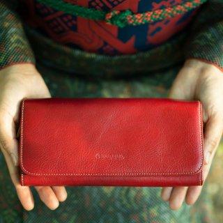 〈3日以内発送〉上質なヌメ革のかぶせ蓋長財布 レッド(レザー 牛ヌメ革)