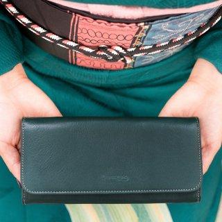 〈3月初旬発送〉上質なヌメ革のかぶせ蓋長財布 ダークグリーン(レザー 牛ヌメ革)