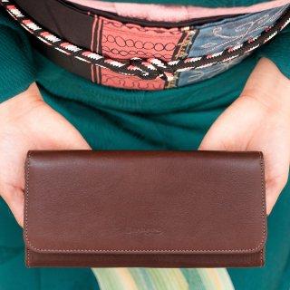 〈3日以内発送〉上質なヌメ革のかぶせ蓋長財布 ブラウン(レザー 牛ヌメ革)