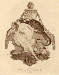 フランツ・フォン・バイロス蔵書票 Grete C?cilie P.S.(Pauker)