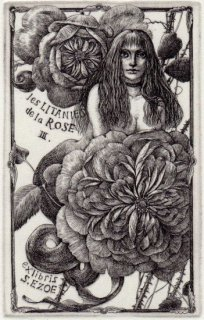 林 由紀子 銅版画蔵書票「薔薇連祷 �」