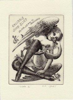 林 由紀子 銅版画蔵書票「Leda II」