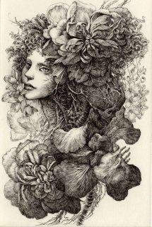 林 由紀子 銅版画作品 「ペルセポネーの花と闇」