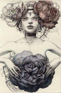 林 由紀子 銅版画作品 「夜明けに開く薔薇」 (手彩色)