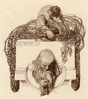 フランツ・フォン・バイロス蔵書票 Ex-Libris Eduard Weigl (Leonardo da Vinci)