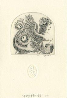 林 由紀子 銅版画蔵書票「迷宮図書館の司書」