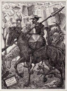 林 由紀子 銅版画(モノクロ)蔵書票「騎士と死と書物の悪魔」サイン入り