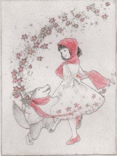 長野 順子 銅版画「紅葉と踊ろう」