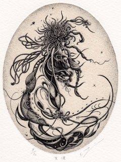 謝敷ゆうり 銅版画「天使」